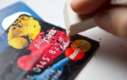 Wymazuje kredytowej karty dług obraz royalty free