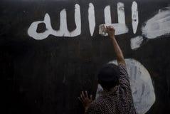 WYMAZYWAĆ ISLAMSKIEGO stanu graffiti Obrazy Royalty Free