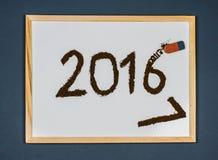 Wymazywać 2016, szczęśliwa nowego roku 2017 powitań karta Fotografia Stock
