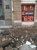 Wymiany walut ruble, euro/ Zdjęcia Royalty Free