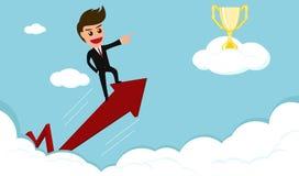 3 wymiarowe jaja biznesmen jedzie czerwoną strzała trofeum na chmurze Zdjęcia Stock