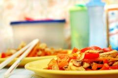 wymieszać tajski frytki żywności obraz stock