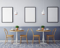 Wyśmiewa w górę plakatów z retro modnisia cukiernianym restauracyjnym wewnętrznym tłem, Zdjęcia Royalty Free