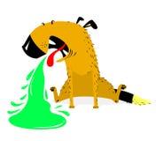 Wymiotować psa psia choroby Zwierzę domowe pukes z zielonym wymiociny Obrazy Stock