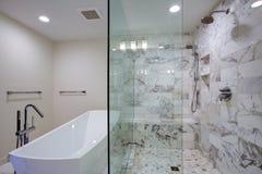 Wymuskana łazienka z freestanding spacerem w prysznic i wanną obrazy royalty free
