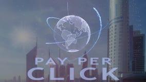 Wynagrodzenie na stukni?cie tekst z 3d hologramem planety ziemia przeciw t?u nowo?ytna metropolia ilustracja wektor