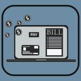 Wynagrodzenie rachunki opodatkowywają online kwit przez komputeru lub laptopu Fotografia Royalty Free