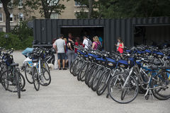 Wynajmowanie bicykle w central park Nowy Jork usa zdjęcia royalty free