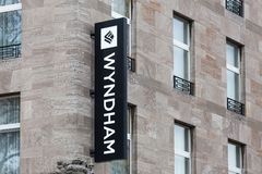 Wyndham hotel sign in duisburg germany stock image