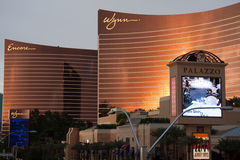 Wynn and Encore at Sunset stock image