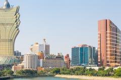 Wynn and Grand Lisboa casinos in Macau Stock Photos