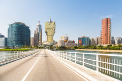 Wynn and Grand Lisboa casinos in Macau Royalty Free Stock Images