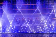 Wynn Hotel  Macau fountain show. MACAU - MARCH 07 : The Wynn Hotel  Macau fountain show on March 07 , 2018 in Macau. There is 1,200 water jets shooting up to Royalty Free Stock Photos