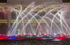 Wynn Hotel  Macau fountain show. MACAU - MARCH 07 : The Wynn Hotel  Macau fountain show on March 07 , 2018 in Macau. There is 1,200 water jets shooting up to Royalty Free Stock Images