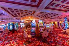 Wynn slot machine. Las Vegas, Nevada, United States - August 18, 2018: many slot machine inside the Wynn in Las Vegas Strip. Luxurious interior architecture of royalty free stock image