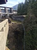 Wynoochee Dam. Washington, dam, waterfall, montesano royalty free stock image