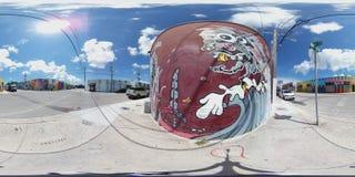 Wynwood grafittiväggmålningar Miami Arkivfoto