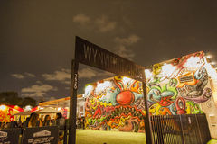 Wynwood Walls entrance at arts district by night. Miami Stock Photography