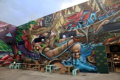 Wynwood Walls Miami. Wynwood Walls is an outdoor art museum displaying a large scale colorful murals in midtown Miami, Florida Royalty Free Stock Image