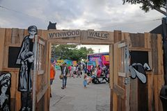 Wynwood Walls Miami. Wynwood Walls is an outdoor art museum displaying a large scale colorful murals in midtown Miami, Florida Stock Images