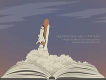 Wyobraźni literatura, latający statek kosmiczny royalty ilustracja