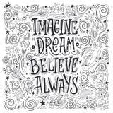 Wyobraża sobie sen wierzy zawsze ilustracji