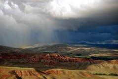 Wyoming Badlands met Onweer stock foto's