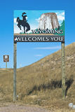 Wyoming border with Colorado Royalty Free Stock Image