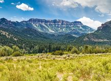 Wyoming Butte at end of a valley the in Yellowstone National Park. Butte in Yellowstone National Park in Wyoming with blue sky and white clouds royalty free stock photos