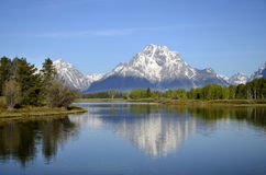 Wyoming. Early morning image of Mt. Moran in Grand Tetons National Park, Wyoming stock photo