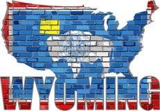 Wyoming en una pared de ladrillo Imagen de archivo