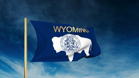 Wyoming flag slider style with title. Waving in stock video
