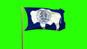 Wyoming flag waving in the wind. Green screen. Alpha matte. Loops animation stock video footage