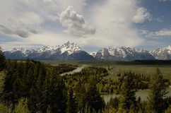 Wyoming Gran Teton nationalpark, Snake River svart white Royaltyfri Foto