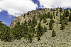 Wyoming Hideout. A mountain cliff in the Wyoming wilderness area with evergreens and sage brush stock photography