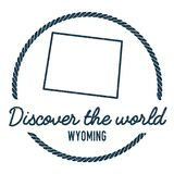 Wyoming Map Outline. Vintage Discover the World. Royalty Free Stock Image