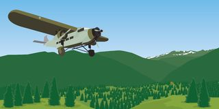 Wyoming Mountain Landscape. Vector style illustration of a mountain range in Wyoming with an airplane in the foreground Royalty Free Stock Photo