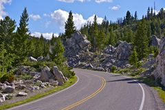 Wyoming Mountain Road. Scenic By Way. Scenic Wyoming Photography Collection Royalty Free Stock Photos