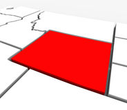 Wyoming Red Abstract 3D State Map United States America. A red abstract state map of Wyoming, a 3D render symbolizing targeting the state to find its outlines Stock Photo