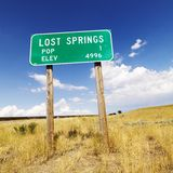 Wyoming road sign. Population and elevation sign for Lost Springs, Wyoming Stock Photography