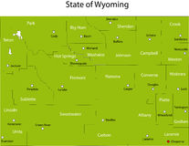Wyoming state. Map of Wyoming state designed in illustration with the counties and the county seats Royalty Free Stock Photo