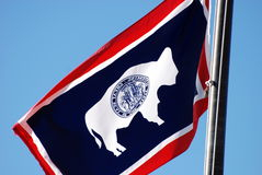 Wyoming State Flag blowing in breeze Royalty Free Stock Image