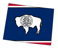 Wyoming State Outline Map and Flag. Outline of the state of Wyoming isolated with flag inset Stock Photo
