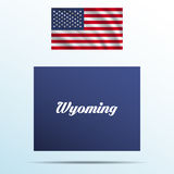 Wyoming state with shadow with USA waving flag Royalty Free Stock Photo