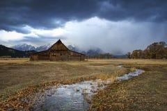 Wyoming storslagen Tetons ladugård, mormonrad arkivfoto
