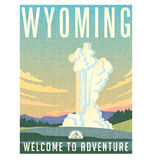 Wyoming travel poster or sticker. Stock Photos
