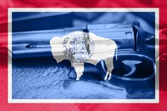 Wyoming U.S. state flag Gun Control USA. United States. Wyoming U.S. state flag  Gun Control USA. United States Gun Laws Royalty Free Stock Images