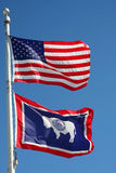 Wyoming and USA flag Stock Photos