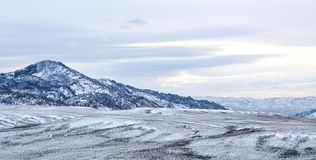 Wyoming Winter. Evening sets in over Pathfinder Reservoir in central Wyoming near Casper. Mountain ranges and plains are scattered about in this area. This is Royalty Free Stock Images