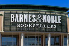 Barnes & Noble Booksellers Sign. Wyomissing, PA, USA - June 14, 2018: Barnes & Noble is a large bookseller with over 630 retail stores in all 50 U.S. states royalty free stock images